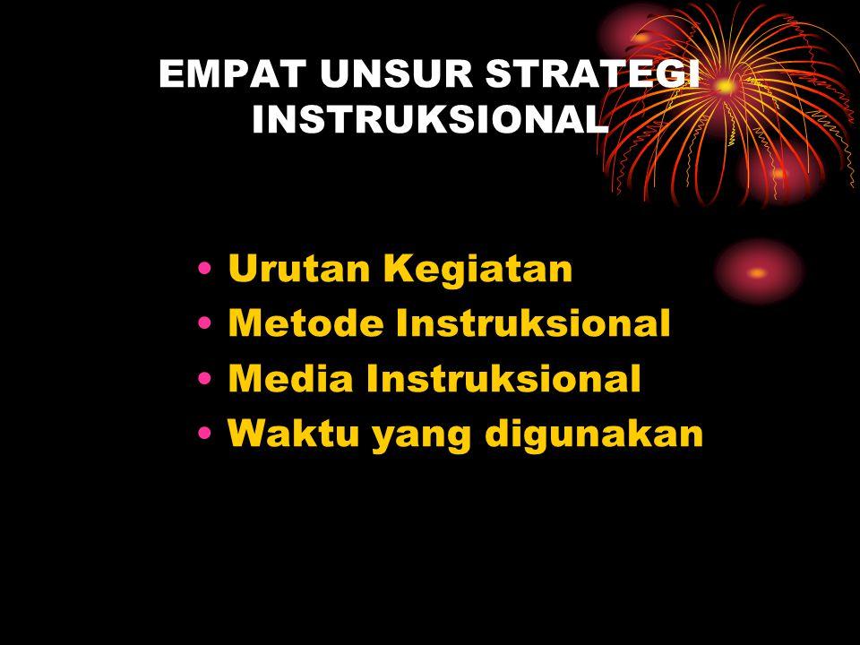 EMPAT UNSUR STRATEGI INSTRUKSIONAL Urutan Kegiatan Metode Instruksional Media Instruksional Waktu yang digunakan