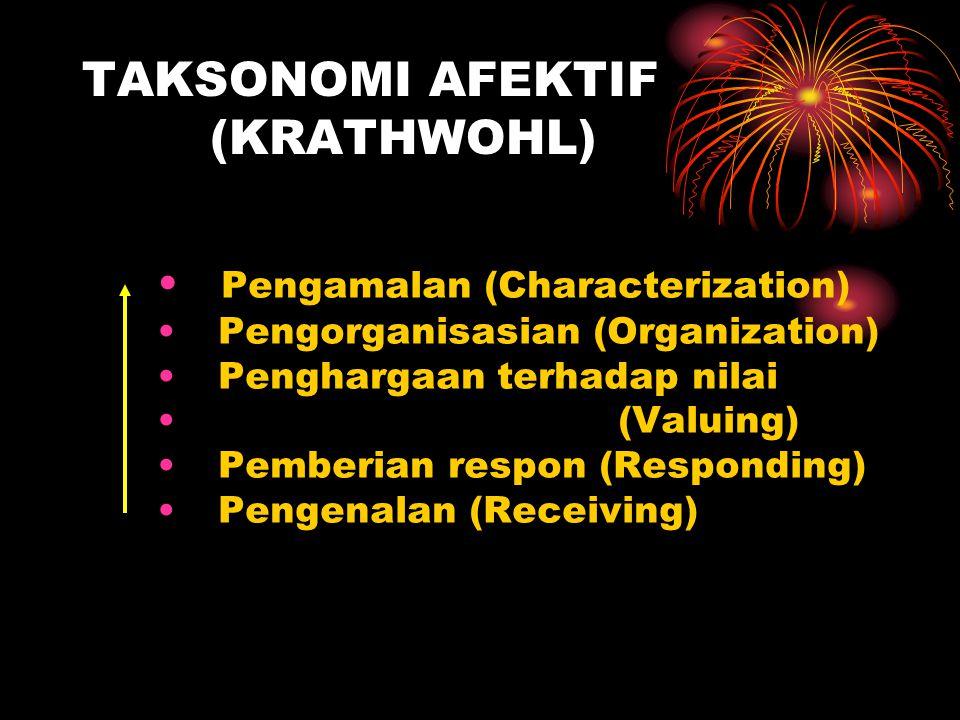 TAKSONOMI AFEKTIF (KRATHWOHL) Pengamalan (Characterization) Pengorganisasian (Organization) Penghargaan terhadap nilai (Valuing) Pemberian respon (Responding) Pengenalan (Receiving)