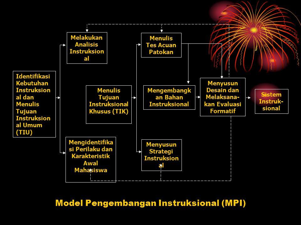 Melakukan Analisis Instruksion al Menulis Tes Acuan Patokan Menulis Tujuan Instruksional Khusus (TIK) Mengembangk an Bahan Instruksional Menyusun Desain dan Melaksana- kan Evaluasi Formatif Sistem Instruk- sional Menyusun Strategi Instruksion al Mengidentifika si Perilaku dan Karakteristik Awal Mahasiswa Identifikasi Kebutuhan Instruksion al dan Menulis Tujuan Instruksion al Umum (TIU) Model Pengembangan Instruksional (MPI)