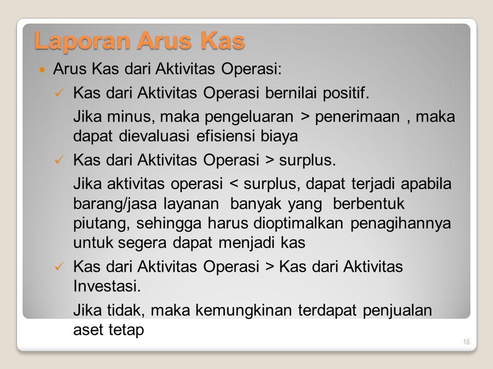 Laporan Arus Kas Arus Kas dari Aktivitas Operasi: Kas dari Aktivitas Operasi bernilai positif. Jika minus, maka pengeluaran > penerimaan, maka dapat d