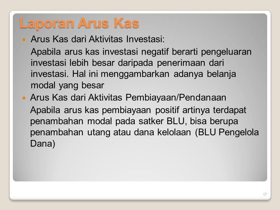 Laporan Arus Kas Arus Kas dari Aktivitas Investasi: Apabila arus kas investasi negatif berarti pengeluaran investasi lebih besar daripada penerimaan d