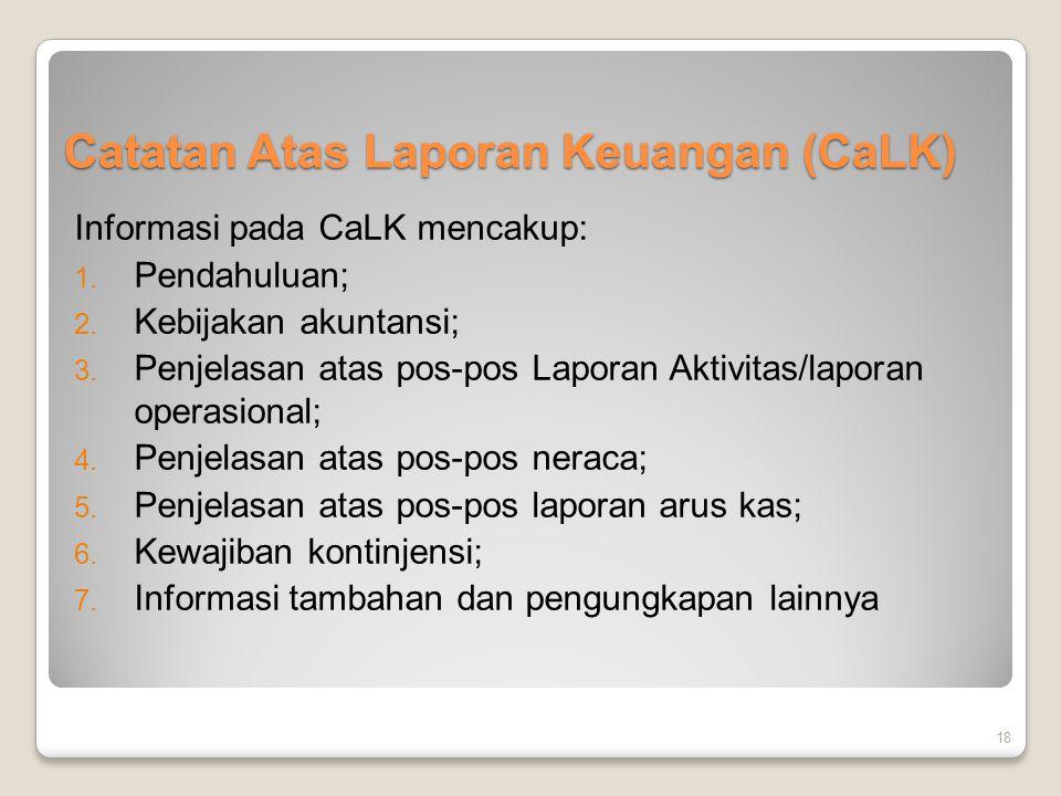 Catatan Atas Laporan Keuangan (CaLK) Informasi pada CaLK mencakup: 1. Pendahuluan; 2. Kebijakan akuntansi; 3. Penjelasan atas pos-pos Laporan Aktivita