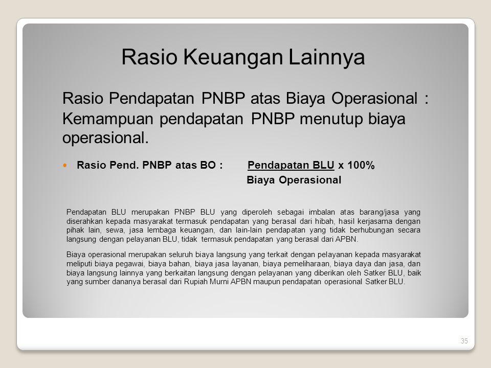 35 Rasio Keuangan Lainnya Rasio Pendapatan PNBP atas Biaya Operasional : Kemampuan pendapatan PNBP menutup biaya operasional. Rasio Pend. PNBP atas BO