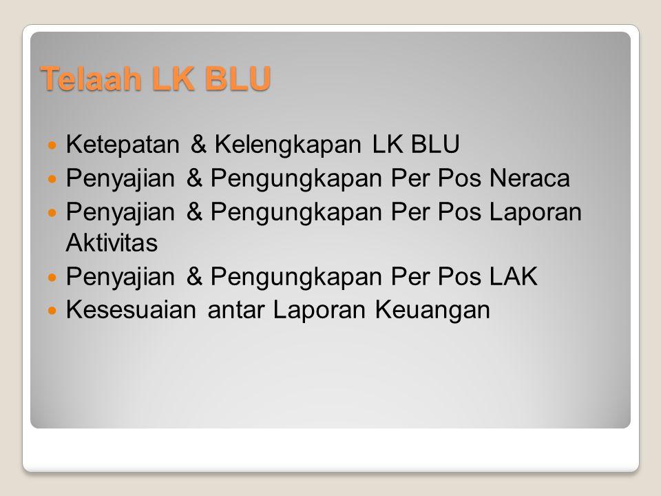 Ketepatan & Kelengkapan LK BLU Penyajian & Pengungkapan Per Pos Neraca Penyajian & Pengungkapan Per Pos Laporan Aktivitas Penyajian & Pengungkapan Per