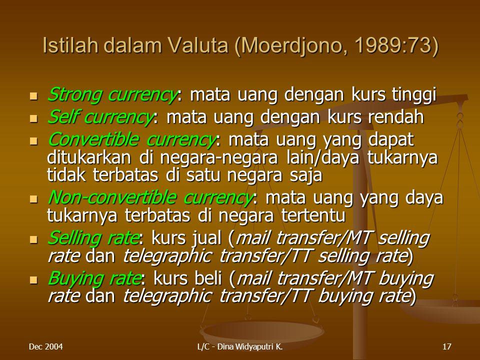 Dec 2004L/C - Dina Widyaputri K.17 Istilah dalam Valuta (Moerdjono, 1989:73) Strong currency: mata uang dengan kurs tinggi Strong currency: mata uang dengan kurs tinggi Self currency: mata uang dengan kurs rendah Self currency: mata uang dengan kurs rendah Convertible currency: mata uang yang dapat ditukarkan di negara-negara lain/daya tukarnya tidak terbatas di satu negara saja Convertible currency: mata uang yang dapat ditukarkan di negara-negara lain/daya tukarnya tidak terbatas di satu negara saja Non-convertible currency: mata uang yang daya tukarnya terbatas di negara tertentu Non-convertible currency: mata uang yang daya tukarnya terbatas di negara tertentu Selling rate: kurs jual (mail transfer/MT selling rate dan telegraphic transfer/TT selling rate) Selling rate: kurs jual (mail transfer/MT selling rate dan telegraphic transfer/TT selling rate) Buying rate: kurs beli (mail transfer/MT buying rate dan telegraphic transfer/TT buying rate) Buying rate: kurs beli (mail transfer/MT buying rate dan telegraphic transfer/TT buying rate)