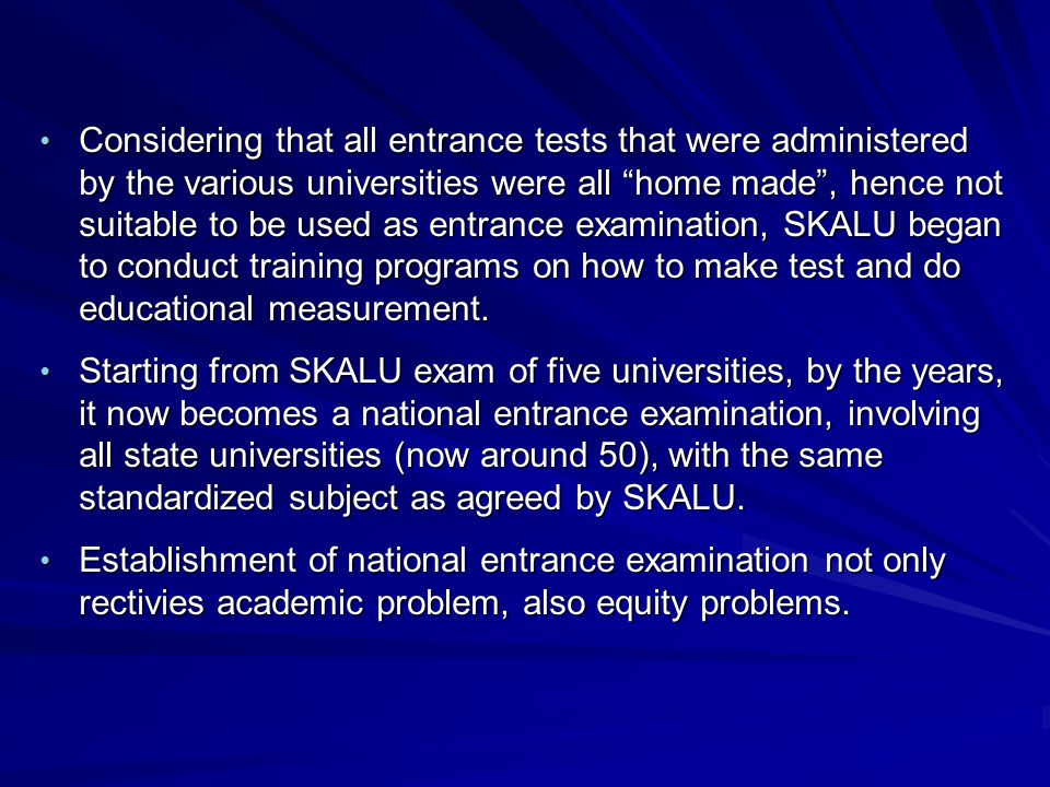 A Achievement vs Predictive Tests The problems of testing which were conducted by the universities, prior to SKALU exams, are mostly of the type of achievement test, testing proficiency in one fiels of subject.