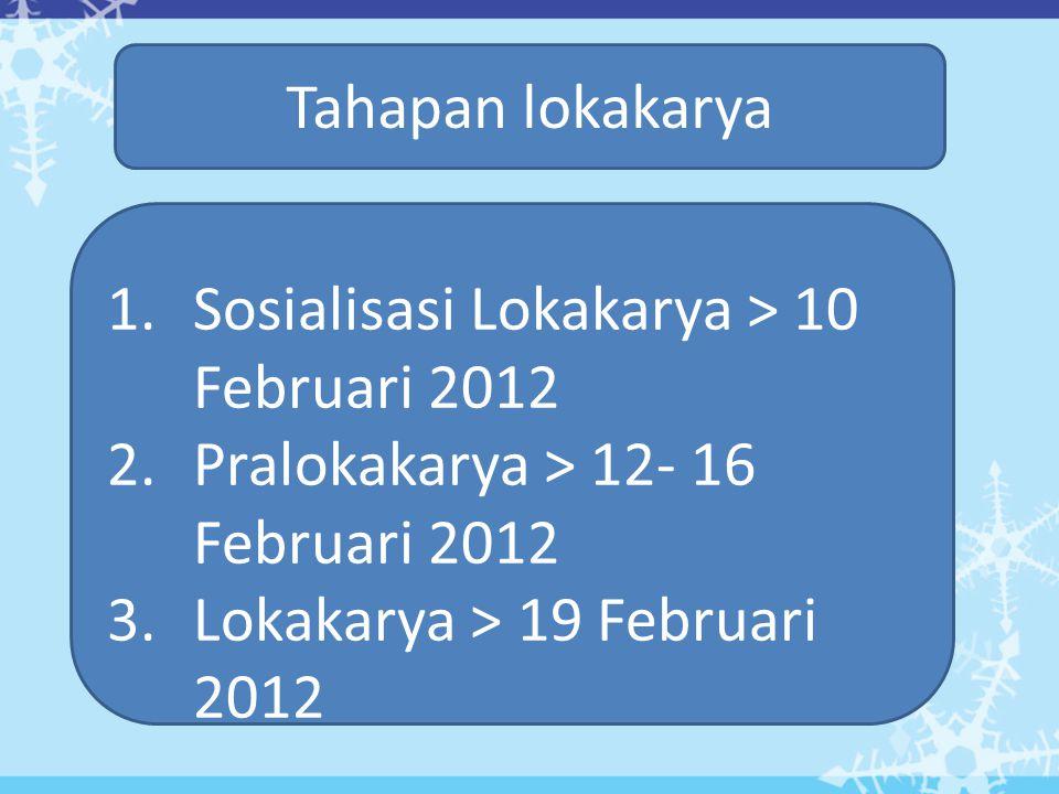 Tahapan lokakarya 1.Sosialisasi Lokakarya > 10 Februari 2012 2.Pralokakarya > 12- 16 Februari 2012 3.Lokakarya > 19 Februari 2012