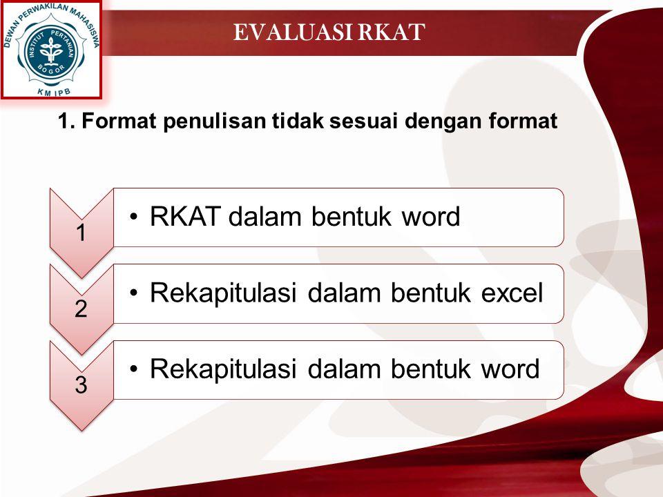 EVALUASI RKAT 1 RKAT dalam bentuk word 2 Rekapitulasi dalam bentuk excel 3 Rekapitulasi dalam bentuk word 1. Format penulisan tidak sesuai dengan form