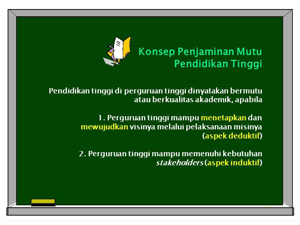 Konsep Penjaminan Mutu Pendidikan Tinggi Pendidikan tinggi di perguruan tinggi dinyatakan bermutu atau berkualitas akademik, apabila 1.