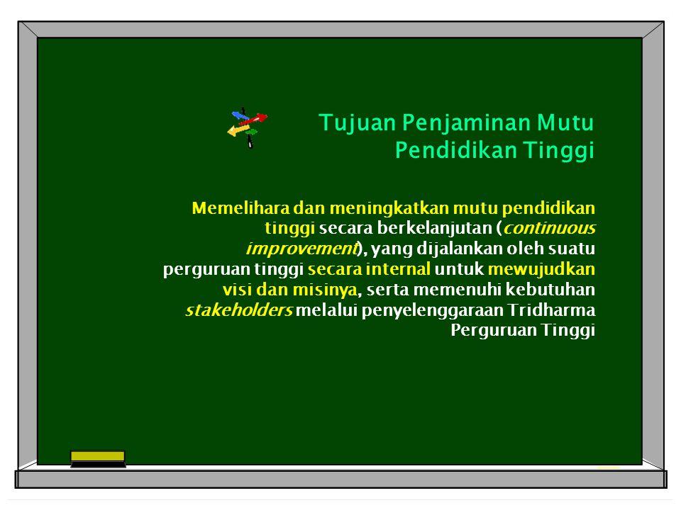 Tujuan Penjaminan Mutu Pendidikan Tinggi Memelihara dan meningkatkan mutu pendidikan tinggi secara berkelanjutan (continuous improvement), yang dijala