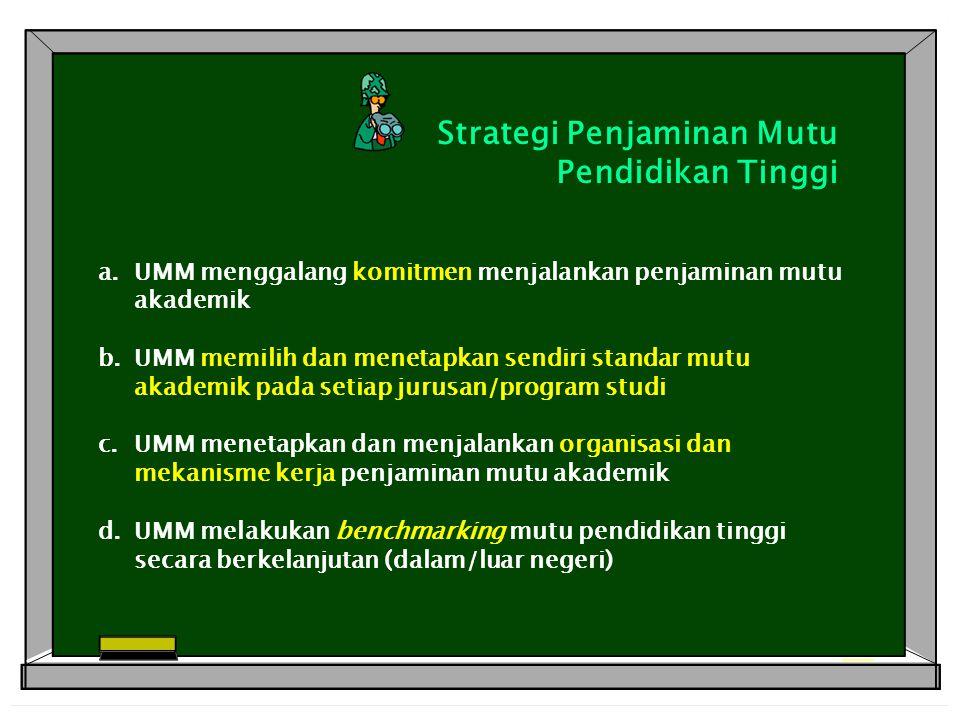 Strategi Penjaminan Mutu Pendidikan Tinggi a.UMM menggalang komitmen menjalankan penjaminan mutu akademik b.UMM memilih dan menetapkan sendiri standar mutu akademik pada setiap jurusan/program studi c.UMM menetapkan dan menjalankan organisasi dan mekanisme kerja penjaminan mutu akademik d.UMM melakukan benchmarking mutu pendidikan tinggi secara berkelanjutan (dalam/luar negeri)
