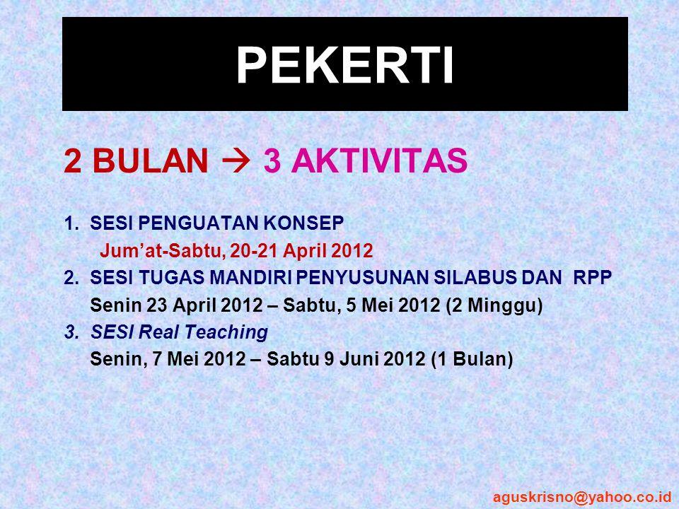 PEKERTI 2 BULAN  3 AKTIVITAS 1. SESI PENGUATAN KONSEP Jum'at-Sabtu, 20-21 April 2012 2. SESI TUGAS MANDIRI PENYUSUNAN SILABUS DAN RPP Senin 23 April
