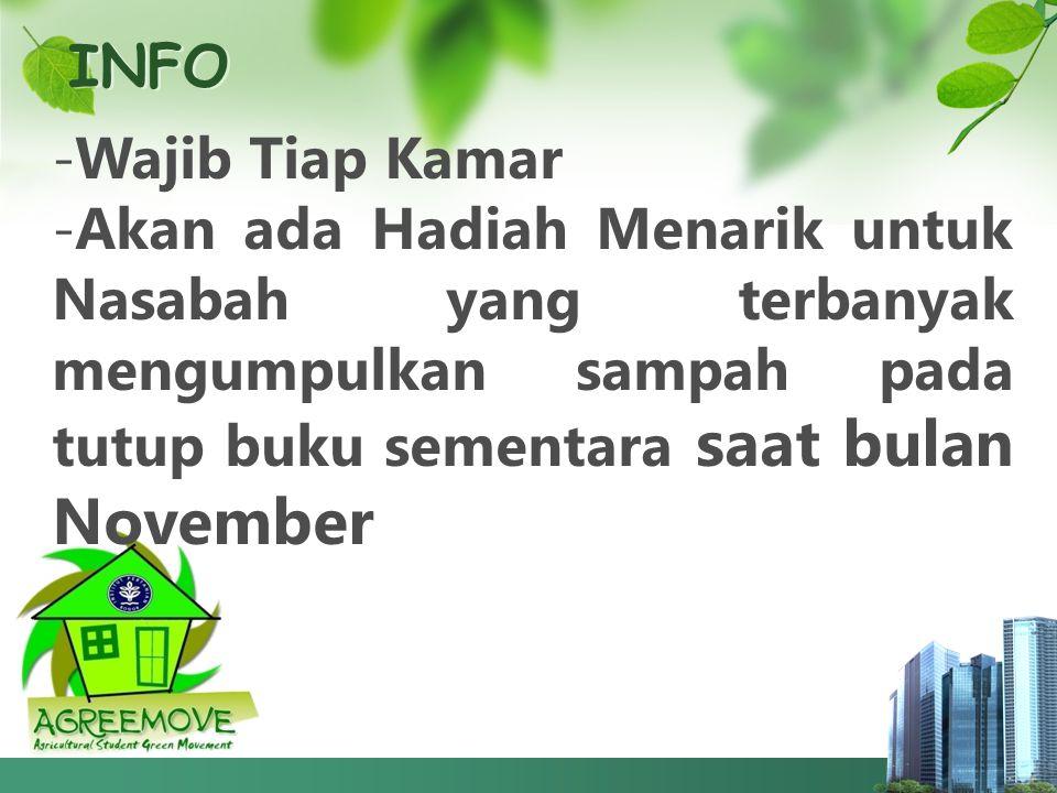 INFO -Wajib Tiap Kamar -Akan ada Hadiah Menarik untuk Nasabah yang terbanyak mengumpulkan sampah pada tutup buku sementara saat bulan November