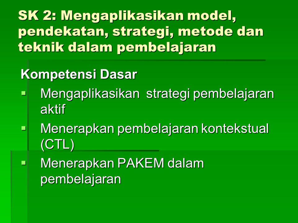 SK 1: Mampu menganalisis dasar- dasar strategi pembelajaran Kompetensi Dasar  Menguraikan konsep dasar strategi pembelajaran efektif.  Menganalis pe