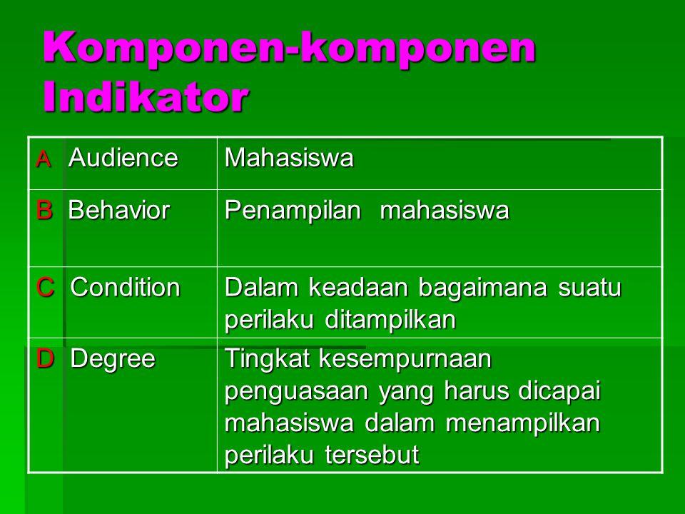 INDIKATOR 3.Dikembangkan sesuai dengan karakteristik peserta didik, satuan pendidikan, dan potensi daerah. 4.Rumusannya menggunakan kerja operasional