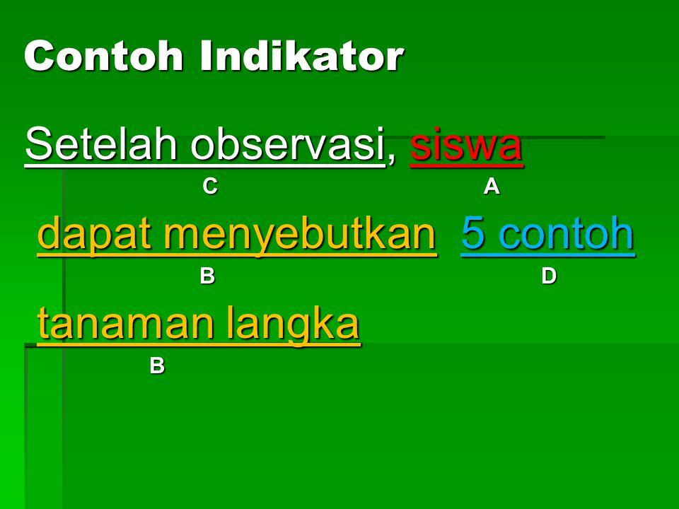 Contoh Indikator  Setelah observasi, siswa dapat menyebutkan 5 contoh tanaman langka