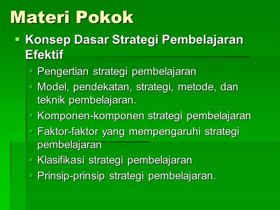 KD: Menguraikan konsep dasar strategi pembelajaran efektif. Indikator  Menjelaskan pengertian strategi pembelajaran  Membedakan model, pendekatan, s