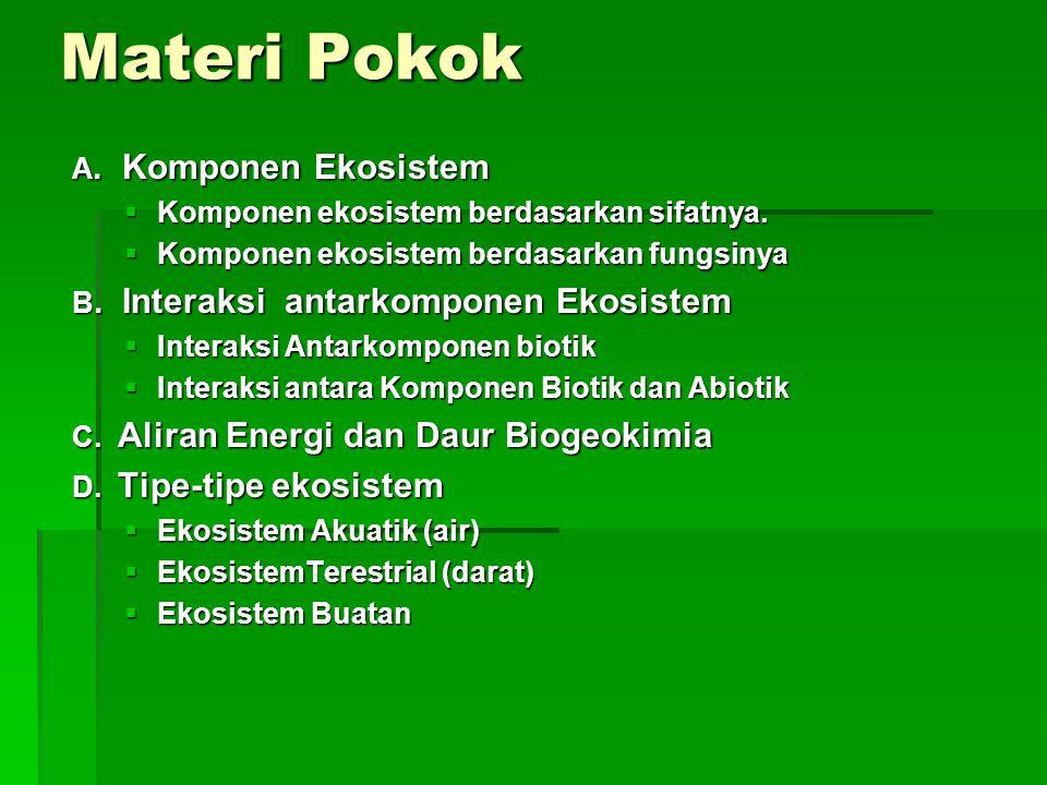 Materi Pokok EKOSISTEM A. Komponen Ekosistem B. Interaksi antarkomponen Ekosistem C. Aliran Energi dan Daur Biogeokimia D. Tipe-tipe ekosistem