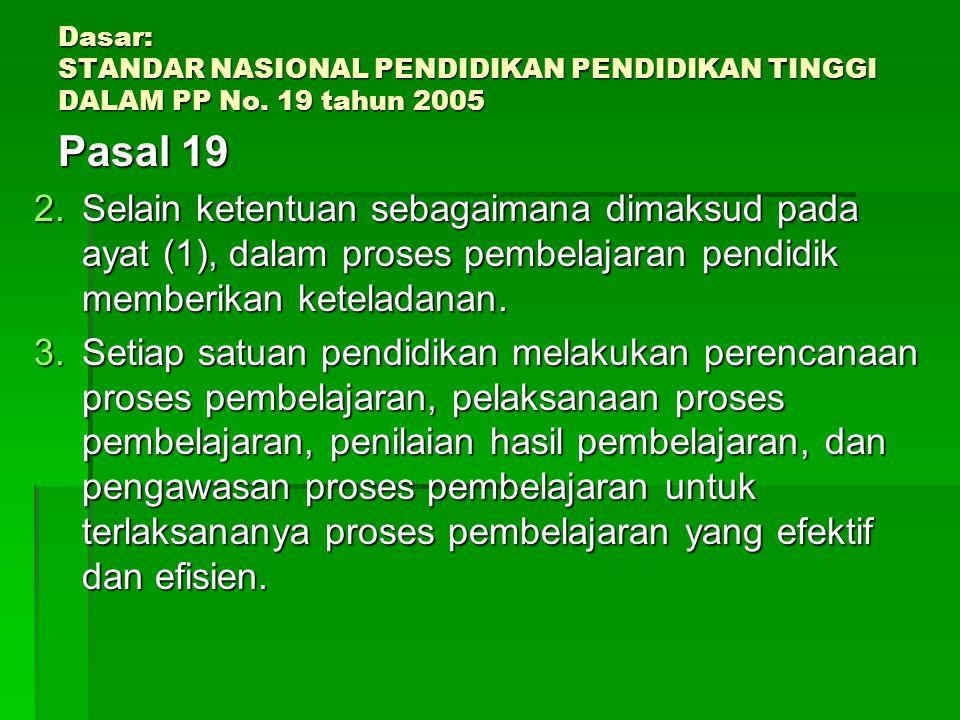 Dasar: STANDAR NASIONAL PENDIDIKAN PENDIDIKAN TINGGI DALAM PP No. 19 tahun 2005 Pasal 19 Pasal 19 1.Proses pembelajaran pada satuan pendidikan diselen