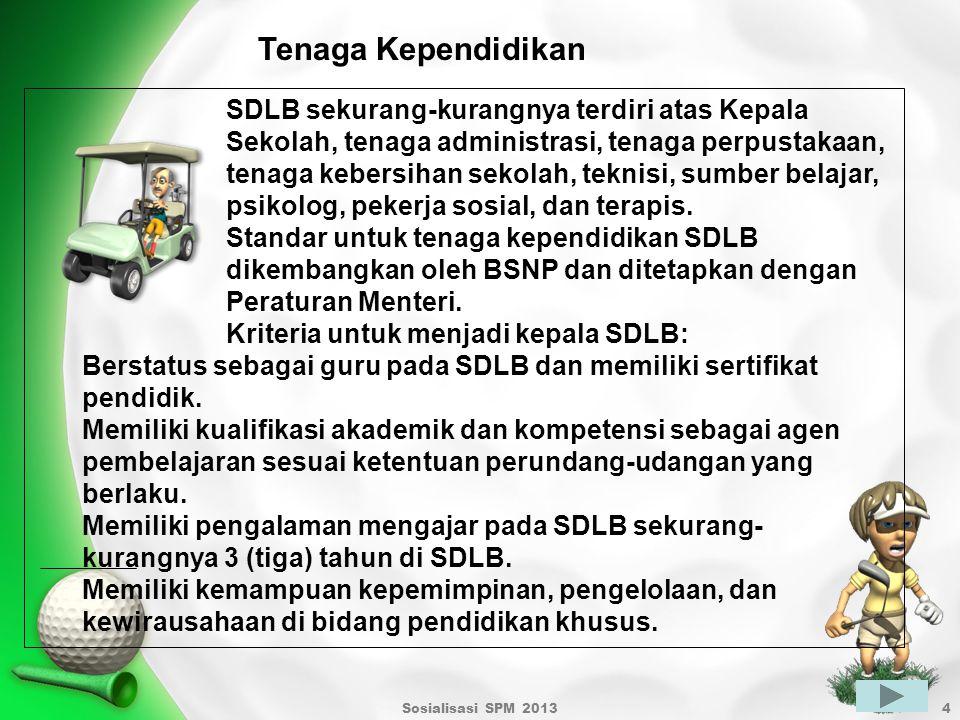 Sosialisasi SPM 20134 Tenaga Kependidikan SDLB sekurang-kurangnya terdiri atas Kepala Sekolah, tenaga administrasi, tenaga perpustakaan, tenaga kebers