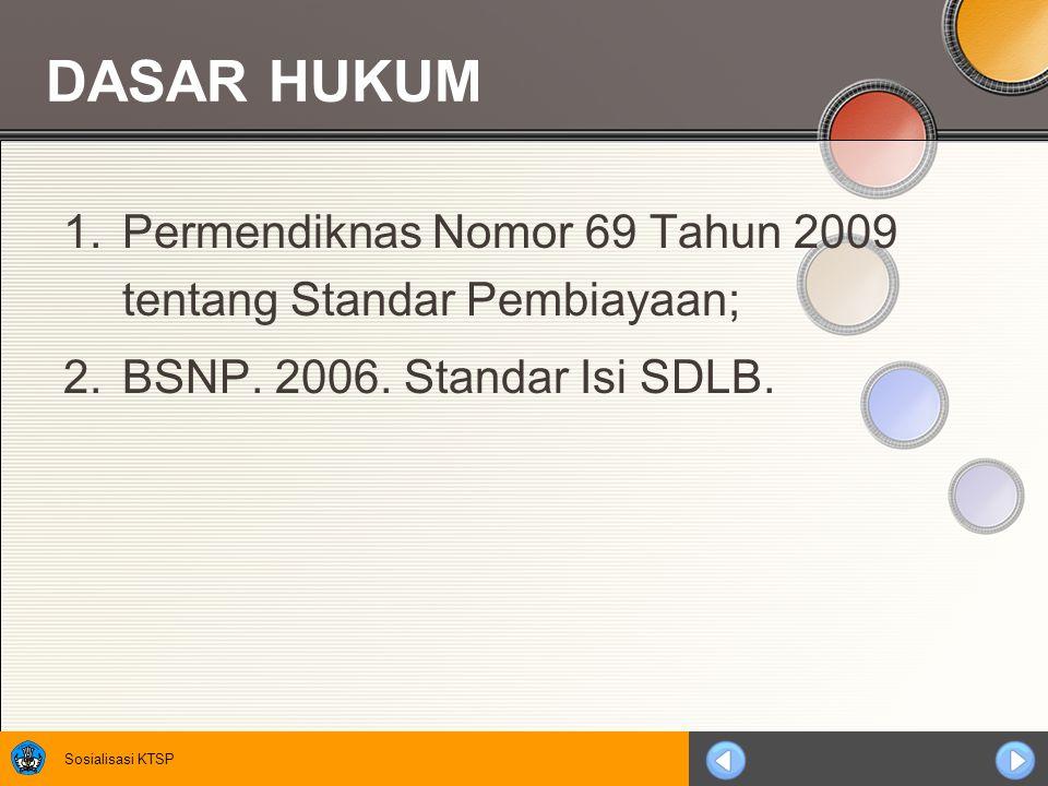 Sosialisasi KTSP 1.Permendiknas Nomor 69 Tahun 2009 tentang Standar Pembiayaan; 2.BSNP. 2006. Standar Isi SDLB. DASAR HUKUM