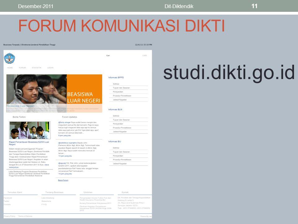 FORUM KOMUNIKASI DIKTI studi.dikti.go.id Desember-2011Dit-Diktendik 11