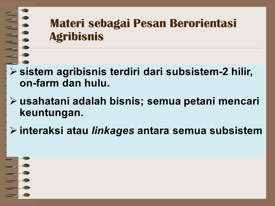  sistem agribisnis terdiri dari subsistem-2 hilir, on-farm dan hulu.
