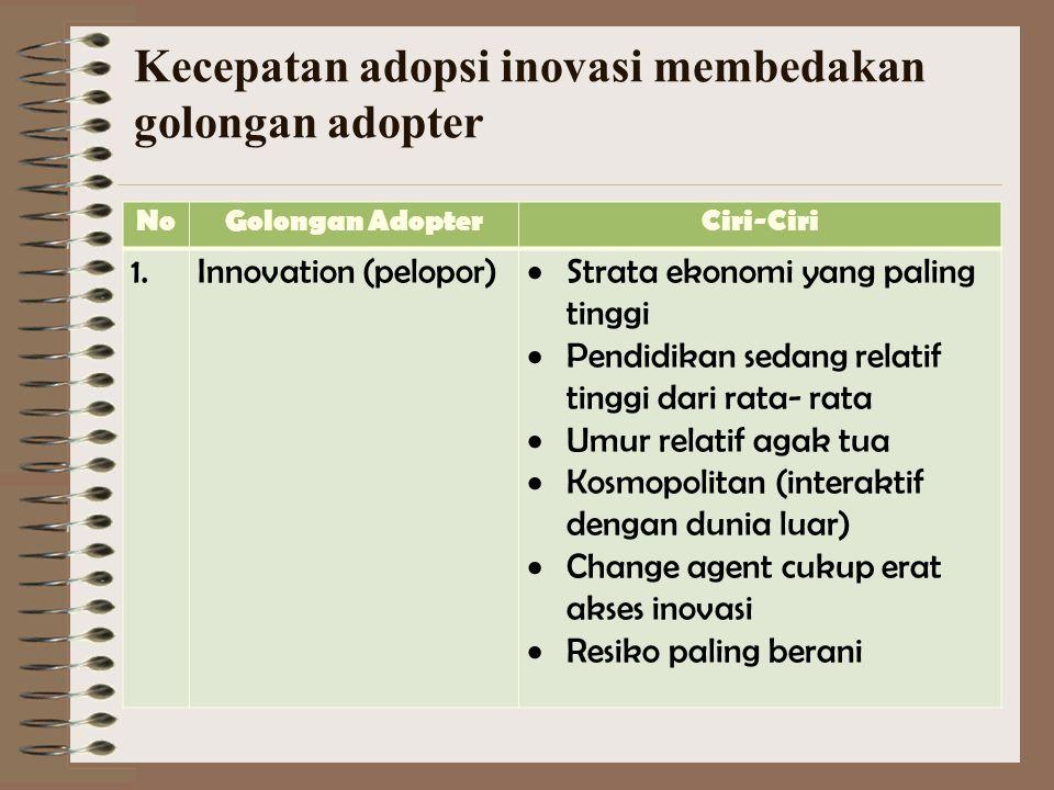 Kesulitan Penerimaan Inovasi 1. cara lama dirasa lebih memuaskan 2. mengabaikan hal- hal baru 3. kebiasaan aman 4. yang baru dirasa sulit 5. kurang bi