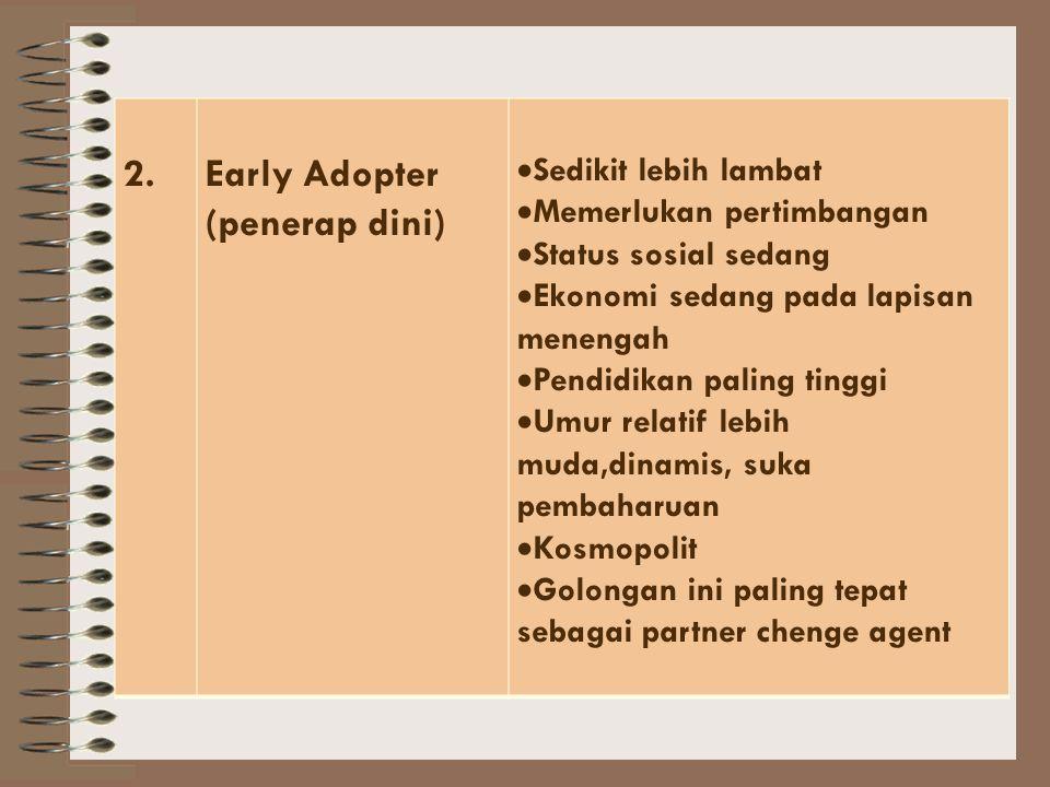 Kecepatan adopsi inovasi membedakan golongan adopter NoGolongan AdopterCiri-Ciri 1.Innovation (pelopor)  Strata ekonomi yang paling tinggi  Pendidik