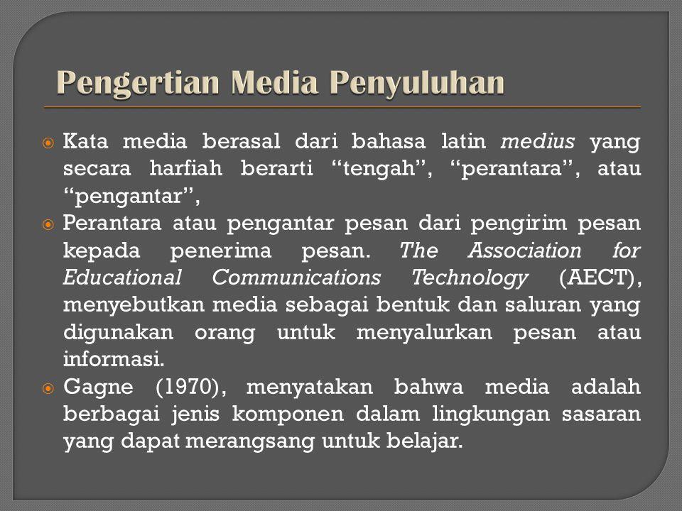 """ Kata media berasal dari bahasa latin medius yang secara harfiah berarti """"tengah"""", """"perantara"""", atau """"pengantar"""",  Perantara atau pengantar pesan da"""