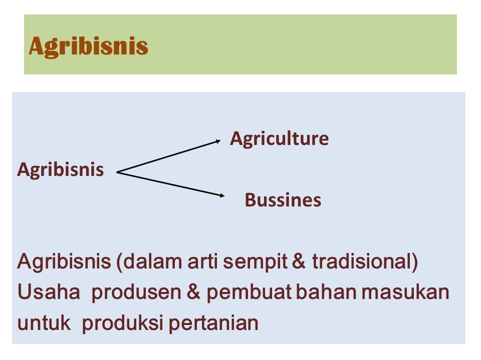 Agriculture Agribisnis Bussines Agribisnis (dalam arti sempit & tradisional) Usaha produsen & pembuat bahan masukan untuk produksi pertanian Agribisni