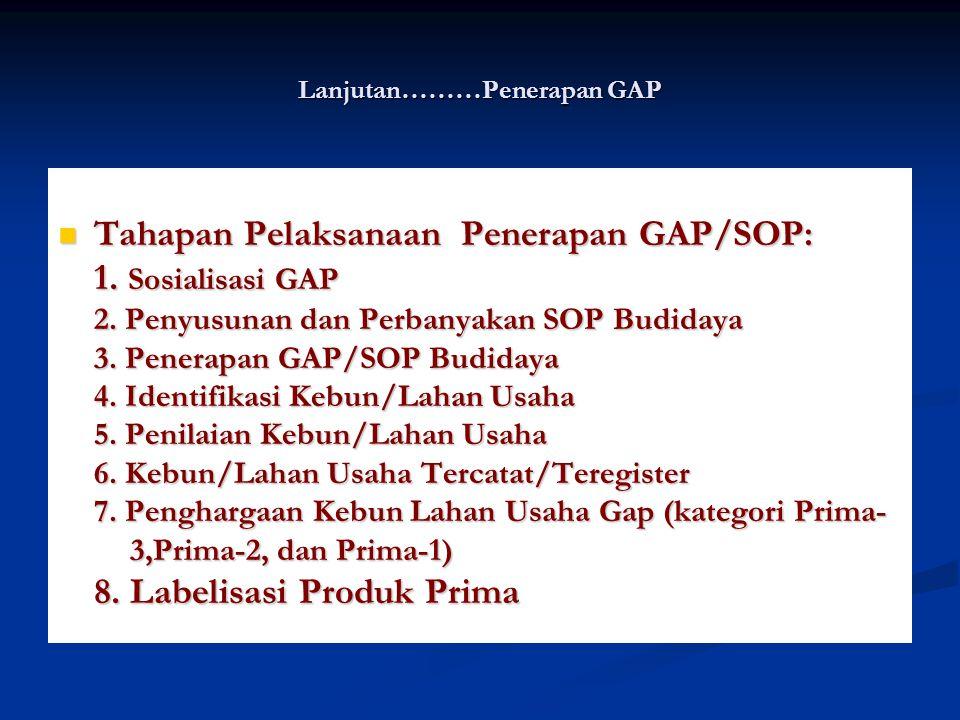 Lanjutan………Penerapan GAP Tahapan Pelaksanaan Penerapan GAP/SOP: Tahapan Pelaksanaan Penerapan GAP/SOP: 1. Sosialisasi GAP 2. Penyusunan dan Perbanyaka
