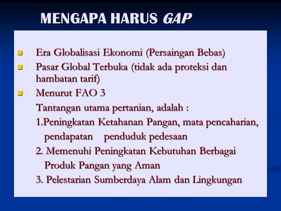 MENGAPA HARUS GAP MENGAPA HARUS GAP Era Globalisasi Ekonomi (Persaingan Bebas) Era Globalisasi Ekonomi (Persaingan Bebas) Pasar Global Terbuka (tidak