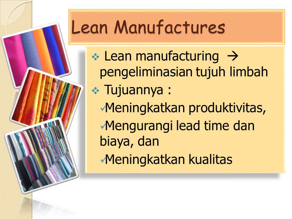 Lean Manufactures  Lean manufacturing  pengeliminasian tujuh limbah  Tujuannya : Meningkatkan produktivitas, Mengurangi lead time dan biaya, dan Me