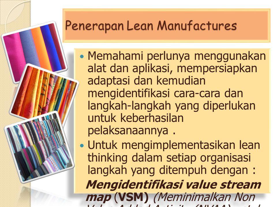 Penerapan Lean Manufactures Memahami perlunya menggunakan alat dan aplikasi, mempersiapkan adaptasi dan kemudian mengidentifikasi cara-cara dan langka