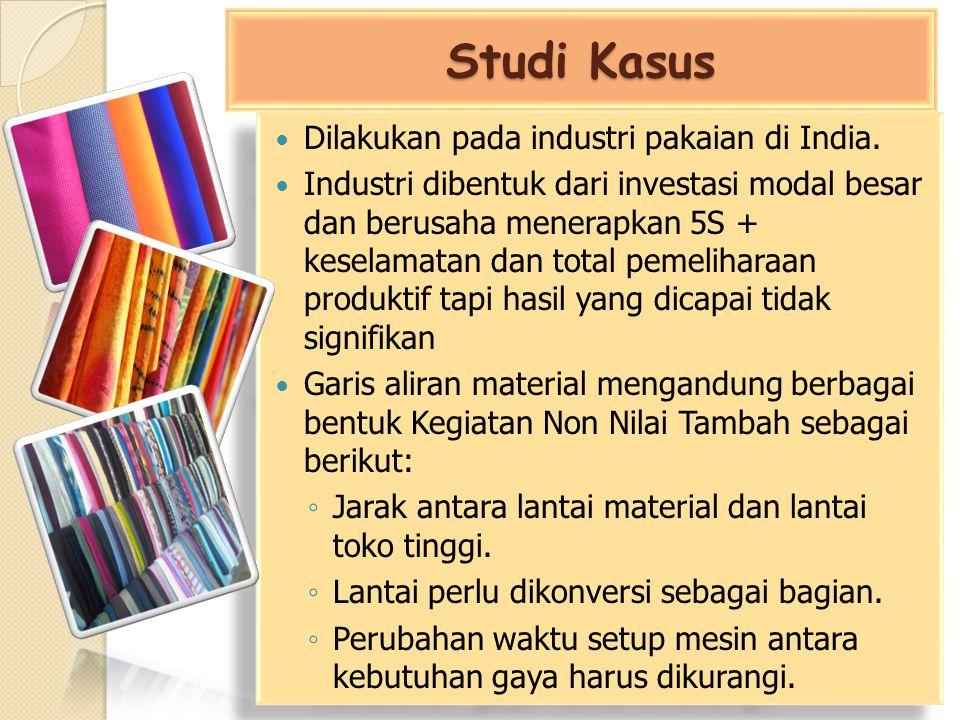 Studi Kasus Dilakukan pada industri pakaian di India. Industri dibentuk dari investasi modal besar dan berusaha menerapkan 5S + keselamatan dan total