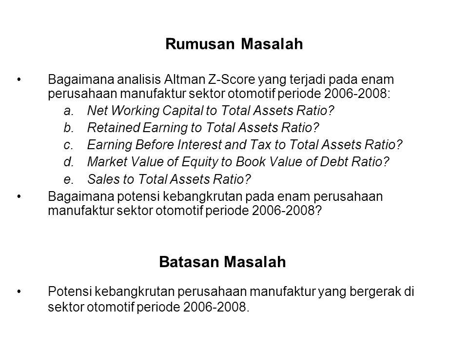 Rumusan Masalah Bagaimana analisis Altman Z-Score yang terjadi pada enam perusahaan manufaktur sektor otomotif periode 2006-2008: a.Net Working Capita