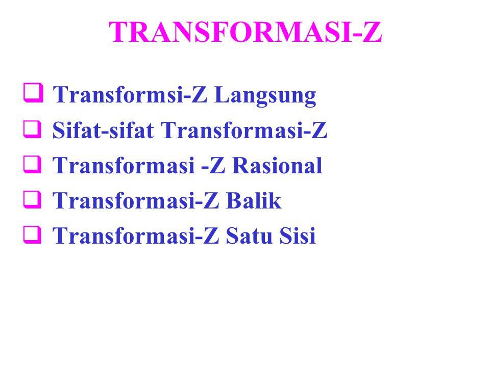 TRANSFORMASI-Z  Transformsi-Z Langsung  Sifat-sifat Transformasi-Z  Transformasi -Z Rasional  Transformasi-Z Balik  Transformasi-Z Satu Sisi