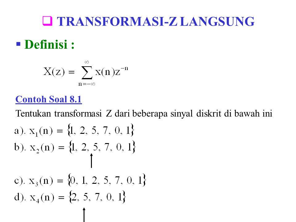  TRANSFORMASI-Z LANGSUNG  Definisi : Contoh Soal 8.1 Tentukan transformasi Z dari beberapa sinyal diskrit di bawah ini