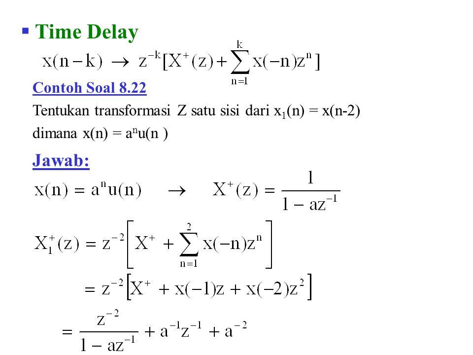  Time Delay Contoh Soal 8.22 Tentukan transformasi Z satu sisi dari x 1 (n) = x(n-2) dimana x(n) = a n u(n ) Jawab: