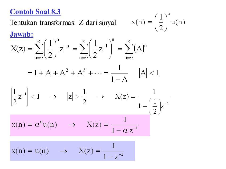  SIFAT-SIFAT TRANSFORMASI-Z  Linieritas Contoh Soal 8.4 Tentukan transformasi Z dari sinyal Jawab: