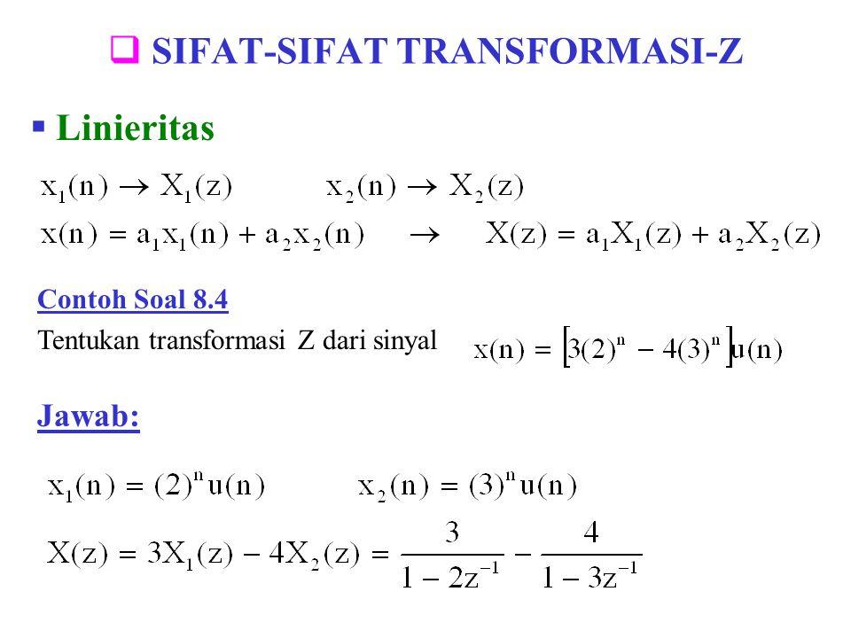 Contoh Soal 8.16 Tentukan output dari suatu sistem LTI (Linear Time Invariant) yang dinyatakan oleh persamaan beda : Jawab: dan mendapat input x(n) = (-3) n u(n)