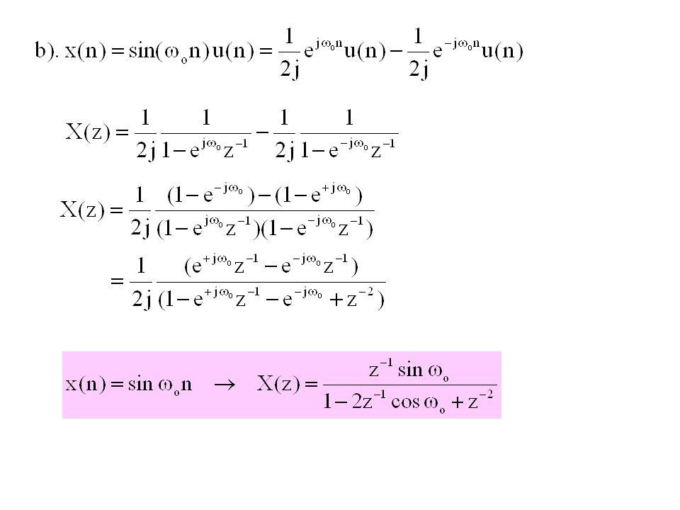  Scaling in the Z-domain Contoh Soal 8.6 Tentukan transformasi Z dari sinyal-sinyal di bawah ini : Jawab: