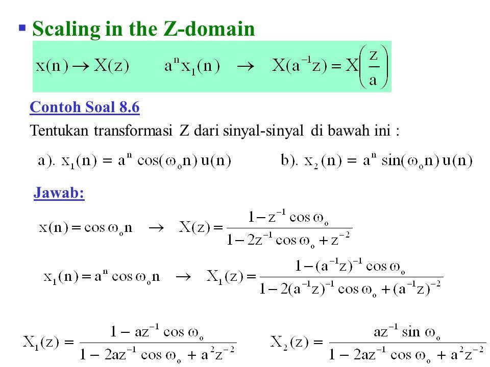 Contoh Soal 8.25 Jawab: Tentukan output dari suatu sistem LTI yang mendapat input x(n) = u(n) dan dinyatakan oleh persamaan beda :