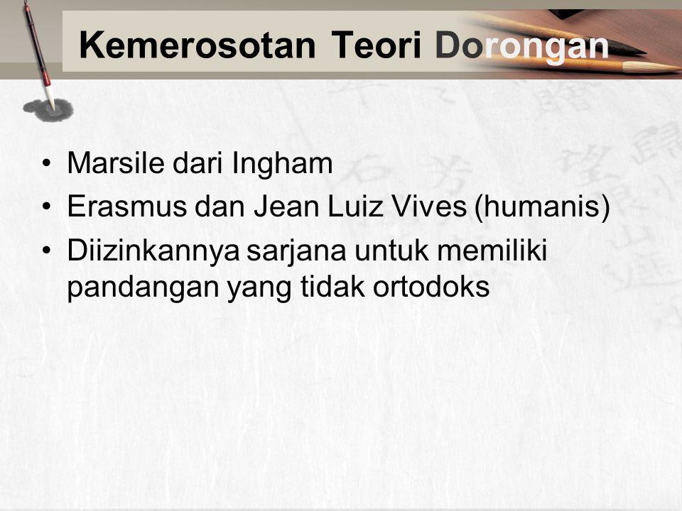 Kemerosotan Teori Dorongan Marsile dari Ingham Erasmus dan Jean Luiz Vives (humanis) Diizinkannya sarjana untuk memiliki pandangan yang tidak ortodoks