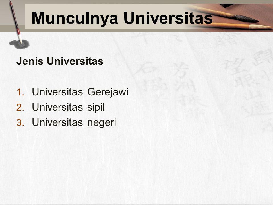 Munculnya Universitas Jenis Universitas 1. Universitas Gerejawi 2.