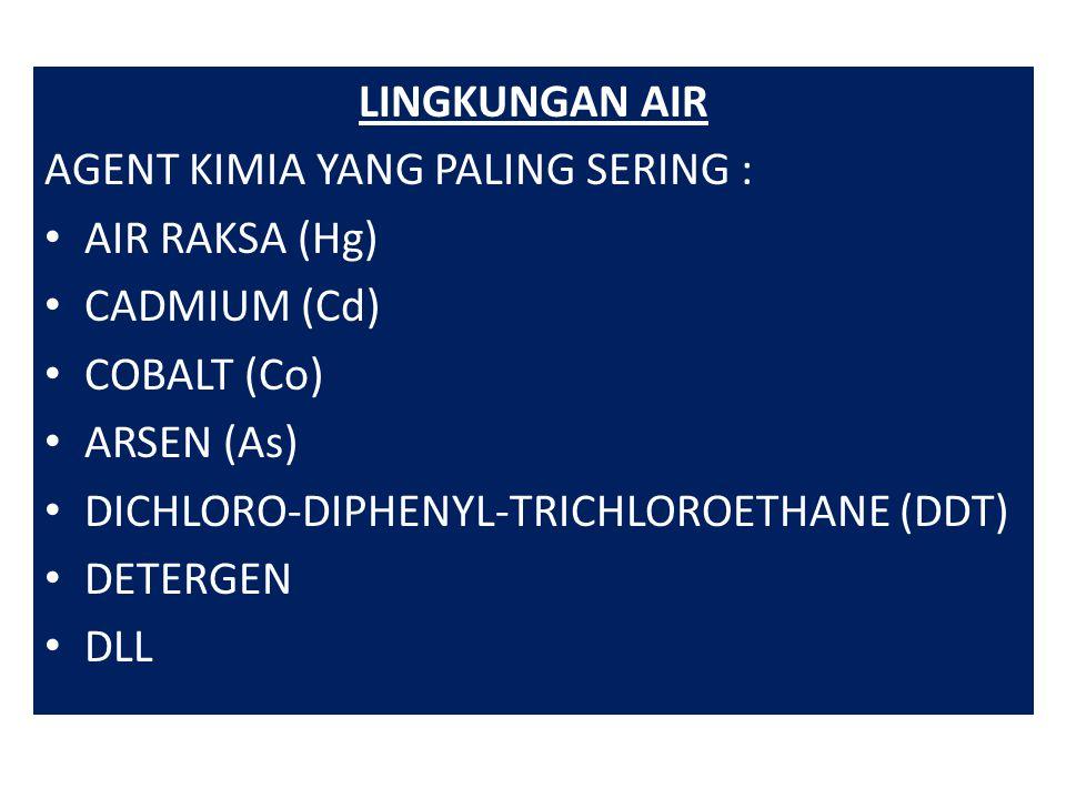 LINGKUNGAN AIR AGENT KIMIA YANG PALING SERING : AIR RAKSA (Hg) CADMIUM (Cd) COBALT (Co) ARSEN (As) DICHLORO-DIPHENYL-TRICHLOROETHANE (DDT) DETERGEN DLL