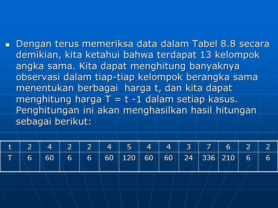 Dengan terus memeriksa data dalam Tabel 8.8 secara demikian, kita ketahui bahwa terdapat 13 kelompok angka sama. Kita dapat menghitung banyaknya obser