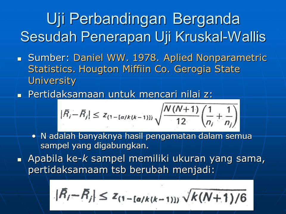 Uji Perbandingan Berganda Sesudah Penerapan Uji Kruskal-Wallis Sumber: Daniel WW. 1978. Aplied Nonparametric Statistics. Hougton Miffiin Co. Gerogia S