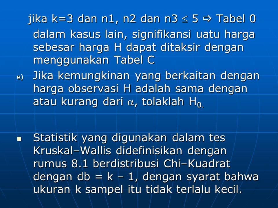 jika k=3 dan n1, n2 dan n3  5  Tabel 0 jika k=3 dan n1, n2 dan n3  5  Tabel 0 dalam kasus lain, signifikansi uatu harga sebesar harga H dapat dita